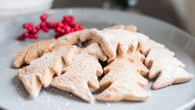 Oat, raspberry and coconut Christmas tree cookies