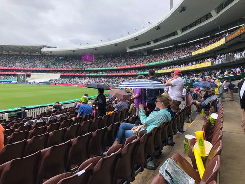 The first day of the fifth ashes test is delayed due to the wet weather. (Picture: Jayne Azzopardi)