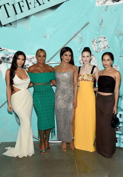 Kim Kardashian West, Mary J. Blige, Priyanka Chopra, Rachel Brosnahan, and Zoe Kravitz attend the Tiffany Blue Book Collection launch at Studio 525 on October 9, 2018 in New York City.