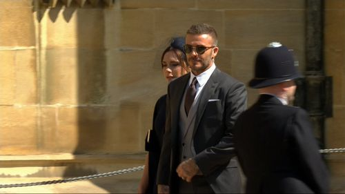 Victoria and David Beckham arrive for the wedding of the century. Picture: Supplied