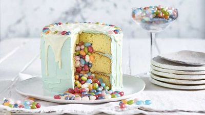 "Recipe: <a href=""http://kitchen.nine.com.au/2017/03/17/15/59/jelly-belly-pinata-cake"" target=""_top"">Jelly Belly piñata cake</a>"