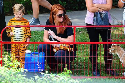 Supermodel Angie Everhart and her son Kayden attend a Halloween party in Beverly Hills.