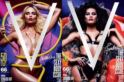 <i><b>V Magazine</b></i><p></p><br/>The Vs could be scratched away like an instant scratch-it to reveal the models' private parts!