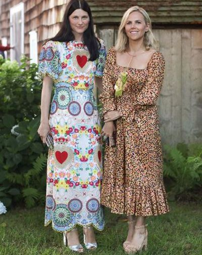<p>Designer/ <em>US Vogue </em>Tabitha Simmons and designer Tory Burch at the Net-a-porter x GOOD + Foundation summer 2018 dinner at the Seinfeld's estate.</p>