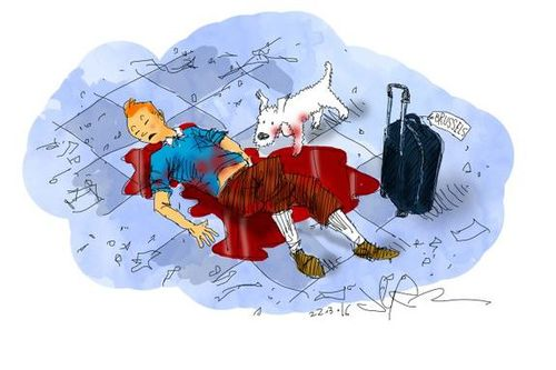 South African cartoonist Jerm drew this particularly confronting cartoon depicting Tintin as a victim of the terror attack.