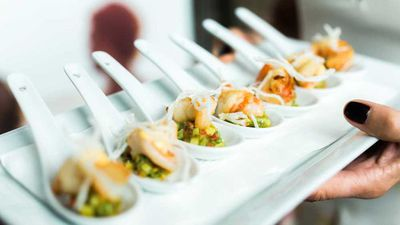 """<a href=""""http://kitchen.nine.com.au/2017/02/16/17/11/spicy-prawn-and-avocado-with-chipotle-mayonnaise-and-crispy-vermicelli"""" target=""""_top"""">Spicy prawn and avocado with chipotle mayonnaise and crispy vermicelli</a><br /> <br /> <a href=""""http://kitchen.nine.com.au/2017/02/16/18/10/easy-canape-recipes-to-fuel-your-weekend-festivities"""" target=""""_top"""">More easy canape recipes</a>"""
