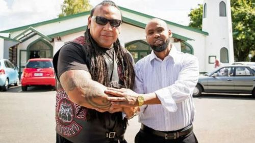 Mongrel Mob Waikato president Sonny Fatu with Hanad Ibrahim from Jamia Mosque in Hamilton.