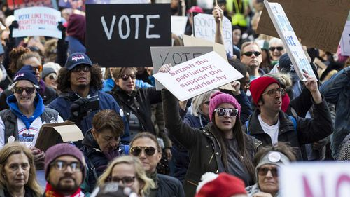 A crowd in a Chicago Women's March. Women are expected to heavily favour Democrats in the upcoming midterm election.