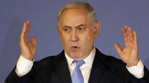 Benjamin Netanyahu during the speech in Israel. (AAP)