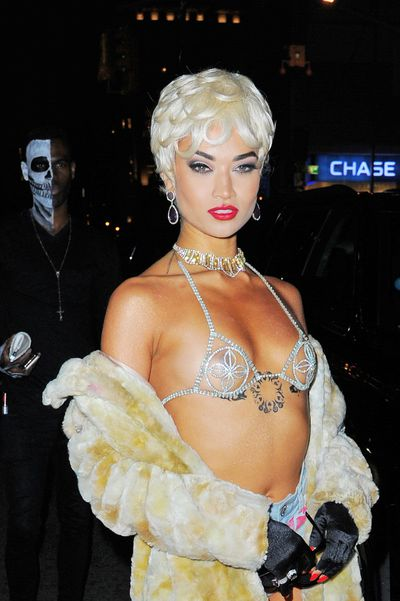 Aussie model Shanina Shaik went as Rihanna to Heidi Klum's Halloween soiree.