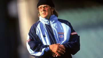 Tommy Raudonikis, coach of the New South Wales Blues looks at his players during a training session prior to the 1997 State of Origin match between the Queensland Maroons