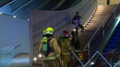 Fire crews cleared the area and Martin Place train station was closed. Picture: 9NEWS