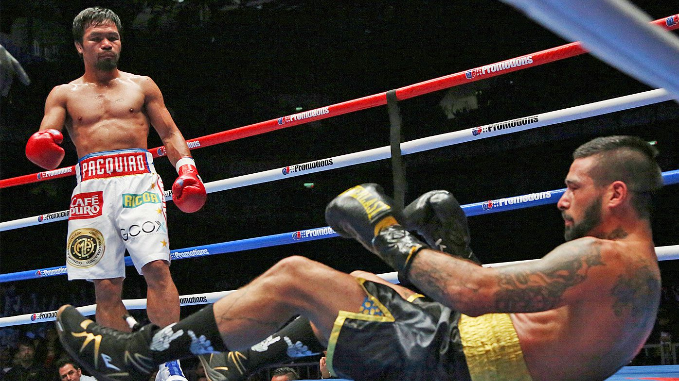Manny Pacquiao scores seventh-round TKO against Lucas Matthysse to win WBA title