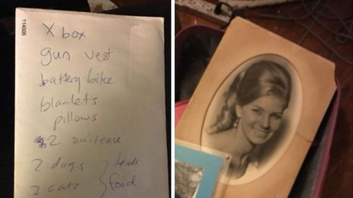Family photos and a checklist  prepared by Ajay Rochester in case she has to flee. (Supplied)
