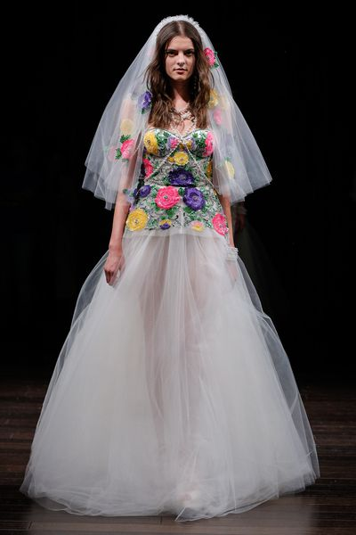 """<p>You can bet that prospective brides Pippa Middleton and <a href=""""http://style.nine.com.au/2016/11/14/14/48/miranda-kerr-wedding"""" target=""""_blank"""">Miranda Ker</a>r kept a close eye on New York Bridal Fashion Week where Naeem Khan, Monique Lhuillier and Marchesa showcased new wedding gowns.</p> <p>The top emerging trends for brides in 2017 are floral embroidery, black details and trousers and we slowly walk away from sheer lace, body-hugging gowns.</p> <p>While nose rings are a common accessory at Indian wedding celebrations, designer Naeem Khan made a compelling case for them in Western ceremonies.&nbsp;</p> <p>Here is our pick of the dresses to say yes to from New York Bridal Fashion Week.</p>"""