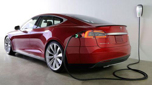 A Tesla recharging its battery.