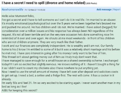 Divorced woman financial abuse Mumsnet post