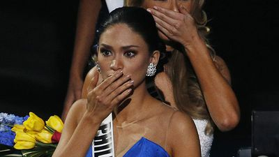 Miss Philippines Pia Alonzo Wurtzbach reacts after host Steve Harvey announces her as the actual winner. (AAP)