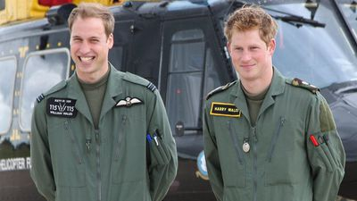 Prince William and Prince Harry during their military helicopter training courses, 2009