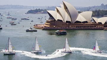Many of Sydney's Australia Day events have been cancelled this year, including the Tug and Yacht Ballet seen here in 2020.