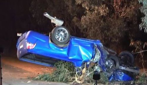 Emergency services found the vehicle upturned. Image: 9News
