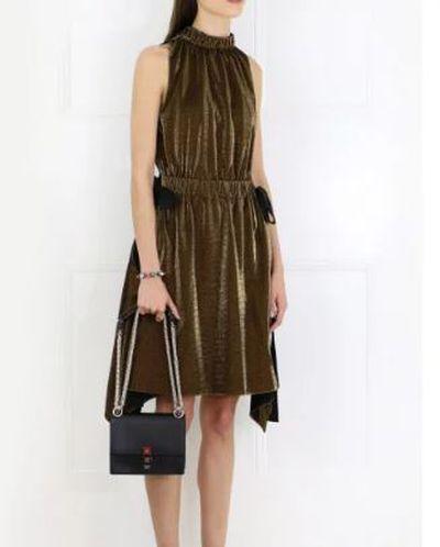 """Fendi lurex dress, $2175 at <a href=""""https://www.parlourx.com/styles/dresses/lurex-jersey-dress-gold.html"""" target=""""_blank"""">Parlour X<br /> </a>"""