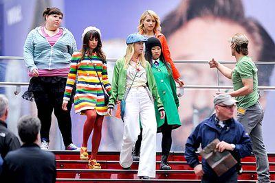 Ashley Fink, Lea Michele, Heather Morris,  Jenna Ushkowitz and Dianna Agron are photographed with the <i>Glee</i> crew.
