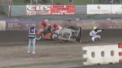 One of the injured riders has questioned the safety of the track.