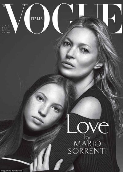 Now: Lila Grace aged 13 on the cover of Italian Vogue in 2016 with her supermodel mum, Kate.