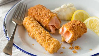 "Recipe: <a href=""http://kitchen.nine.com.au/2017/03/10/11/56/crunchy-salmon-fish-fingers-with-tartare-sauce-sweet-potato-chips"" target=""_top"">Crunchy Cornflake-crumbed baked salmon fish fingers with tartare sauce and sweet potato chips</a>"
