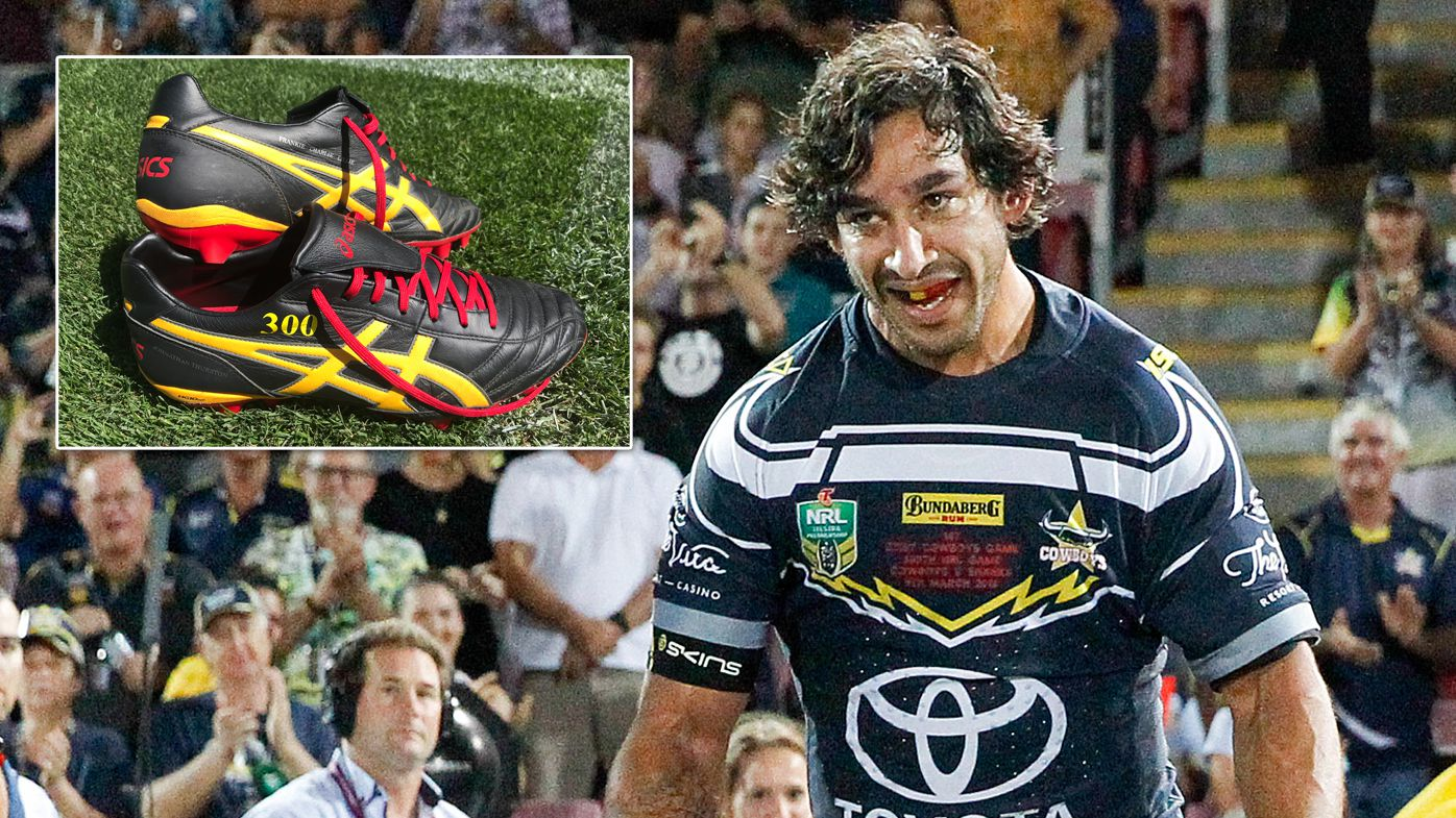 Johnathan Thurston and The Footy Show reveal winning bid of 300-game boots auction