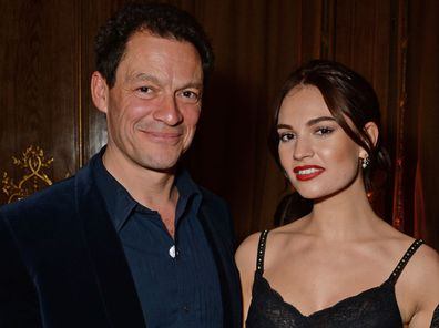 Dominic West, Lily James and Laura Carmichael attend the Harper's Bazaar Women Of The Year Awards 2018, in partnership with Michael Kors and Mercedes-Benz, at Claridge's Hotel on October 30, 2018 in London, England.