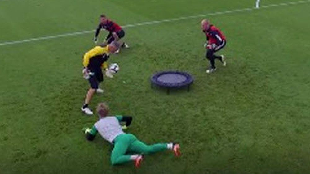 Football: Goalkeepers amaze with game of 'Spikeball'