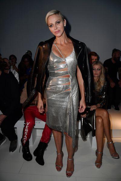 Princess Charlene wearing Versace at the Versace show during Milan Fashion Week Spring/Summer 2018 in September, 2017