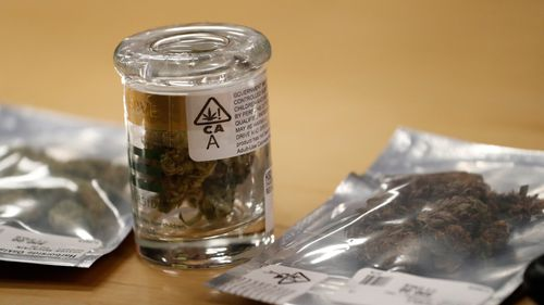 A customer's cannabis items purchase at the Harborside cannabis dispensary in Oakland, California. (AAP)
