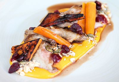 Cranberry-glazed quail