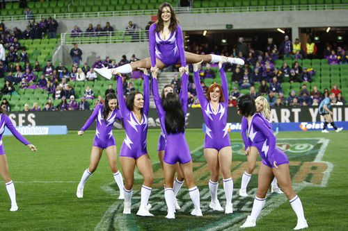 Melbourne storm cheer leaders performing at a game in 2010.