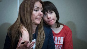Charlotte Caldwell and her son Billy, who needs medicinal cannabis to survive seizures. (AAP)