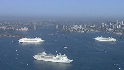 The five ships are docked and anchored at various points in the harbour:<br><br>Pacific Aria – Overseas Passenger Terminal<br>Pacific Eden - Neutral Bay<br>Pacific Jewel - Athol Bay<br>Pacific Dawn - Garden Island<br>Pacific Pearl - Point Piper