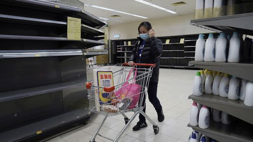 In recent days, residents have been buying large amounts of products because they fear that border restrictions, which were enforced to control the coronavirus outbreak, may affect supply flows into Hong Kong.