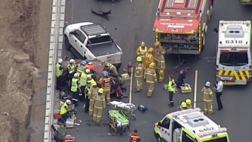One killed, woman trapped in multi-vehicle crash on Melbourne's Princes Freeway