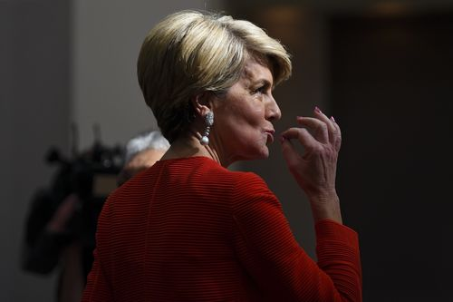 Former Australian foreign minister Julie Bishop attends the ANU Women in National Security Conference at the Hyatt Hotel in Canberra today.