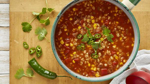 Chunky corn, tomato and chorizo soup with barley by McKenzie's