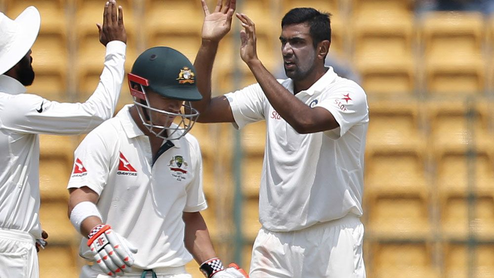 Australian opener David Warner has real problems against Indian spinner Ravi Ashwin. (AAP)
