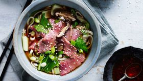 Beef and mushroom noodle soup