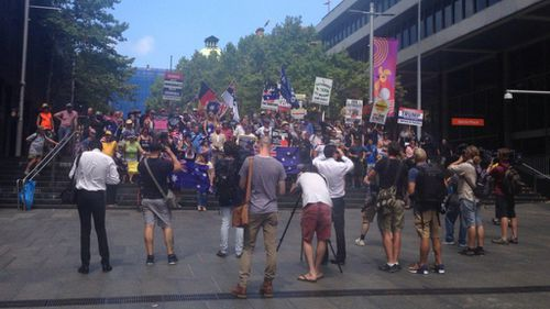 Protesters arrive for Reclaim Australia rally in Sydney's CBD