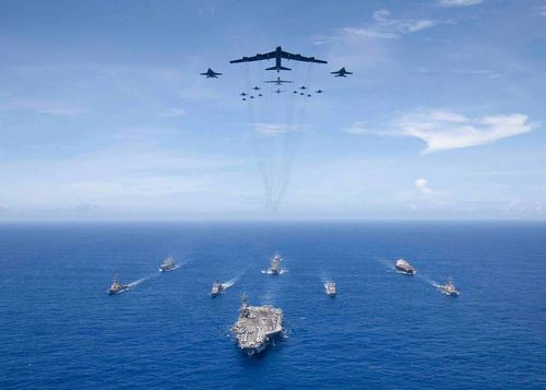Back on September 17, the US staged an exercise in the Philippine Sea in which aircraft carrier USS Ronald Reagan led a formation of Carrier Strike Group 5 ships as U.S. Air Force B-52 Stratofortress aircraft and U.S. Navy F/A-18 Hornets flew overhead.