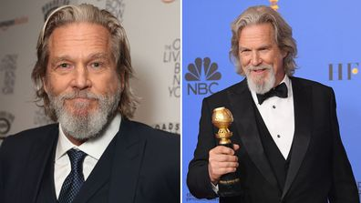 Jeff Bridges attends The Only Living Boy In New York Premiere in  2017 in New York City; poses in the press room during the 76th Annual Golden Globe Awards in 2019.