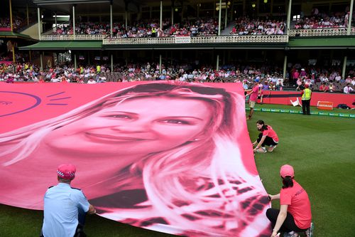 The McGrath Foundation banner is unfurled on Jane McGrath Day last year. (AAP)