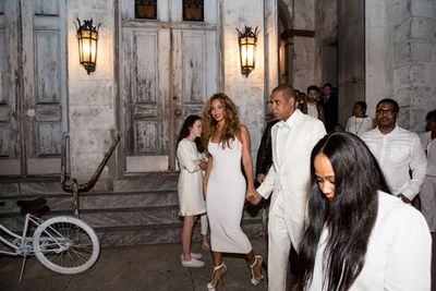 Bey and Jay leave the Marigny Opera House after the wedding.<br><br>Image: Getty